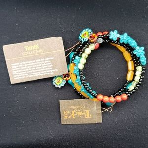 NWT Treska Bracelet. Aqua, Red, Black